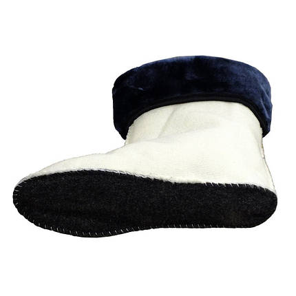 Утеплитель (вставка) меховой VR женский для сапог коротких резиновых (ботиков) темно-синий манжет, фото 2
