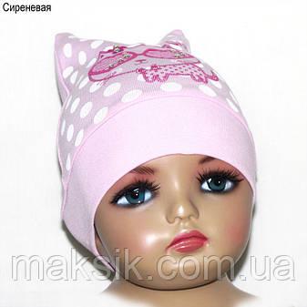 """Шапка для девочки GSK-19 """"Кошка в очках"""" р.46/48см, фото 2"""