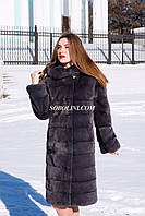 Классическая шуба из меха скандинавской норки с капюшоном, цвет темный ирис, длина 105 см, размер 44 в наличии