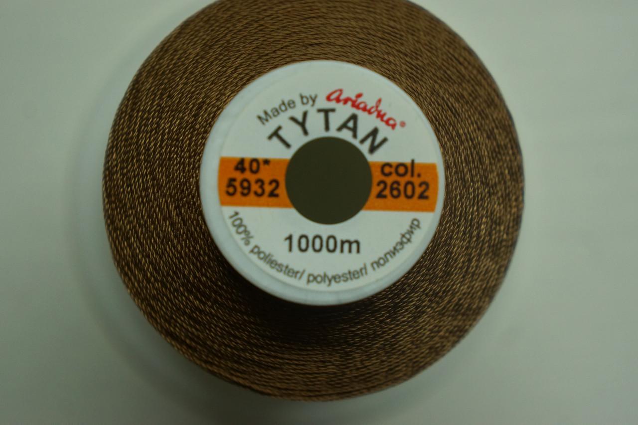 Нить №40 (1000 м.) «Титан» колір 2602 шоколад