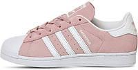 Женские кроссовки Adidas Superstar Suede Pink White