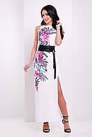 Длинное белое платье с черным поясом без рукавов, размер 44