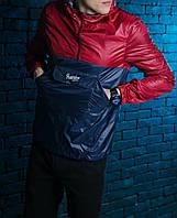 Анорак, ветровка, куртка весенняя, осенняя, высокое качество, т-синий+красный