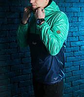 Анорак, ветровка, куртка весенняя, осенняя, высокое качество, т-синий+зеленый