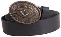 Женский  кожаный ремень под джинсы с овальной пряжкой Dori blx90364 ДхШ: 130х4 см, черный