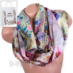 Двусторонний женский шелковый шарф eterno es2707-1-2 цветы 170х47 см