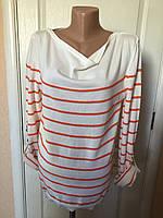 Свитер женский Massimo Dutti молочного цвета в оранжевую полоску