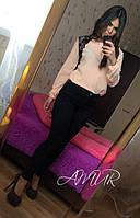 Красивая персиковая  шифоновая блузка с черным кружевом. Арт-2003/82
