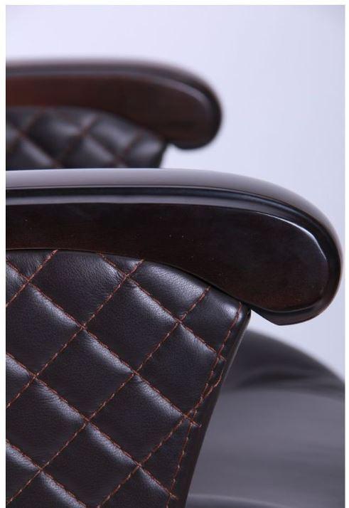 Кресло Галант Элит MB Орех Кожа Люкс комбинированная Темно-коричневая (фото 7)