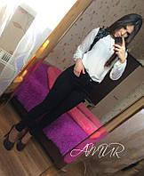 Красивая белая  шифоновая блузка с черным кружевом. Арт-2003/82