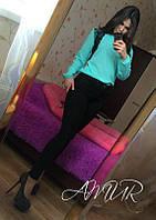 Красивая мятная  шифоновая блузка с черным кружевом. Арт-2003/82