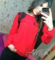 Красивая красная  шифоновая блузка с черным кружевом. Арт-2003/82