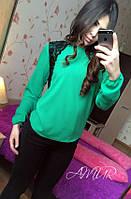 Красивая зеленая  шифоновая блузка с черным кружевом. Арт-2003/82