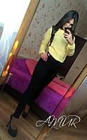 Красивая желтая  шифоновая блузка с черным кружевом. Арт-2003/82