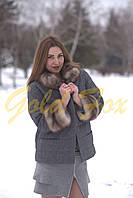 Пальто кашемировое с мехом куницы