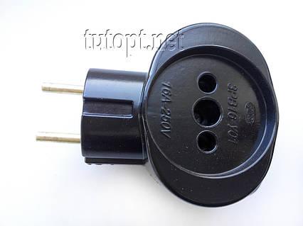 """Тройник """"Карболит"""" с латуными контактами, 16А 220V, Цвет: Черный, упаковка 12 шт."""