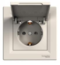 Schneider Electric Asfora Розетка с/з и крышкой кремовая