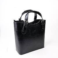 Черная сумка М115-33 глянцевая корзинка деловой стиль, фото 1