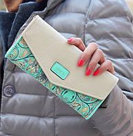Женский большой кошелек на кнопке love зеленый