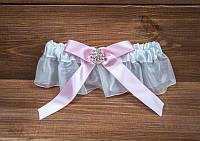 Свадебная подвязка с розовым бантом с брошью