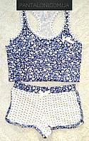 Хлопковая домашняя пижама с майкой и шортами белая с цветочками