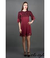 Стильное женское бордовое платье Мэйби Olis-Style 44-52 размеры