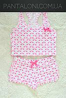Хлопковая домашняя пижама с майкой и шортами белого цвета с принтами фламинго