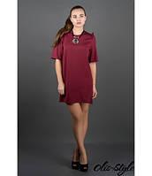 Короткое женское бордовое платье Блуми Olis-Style 44-52 размеры
