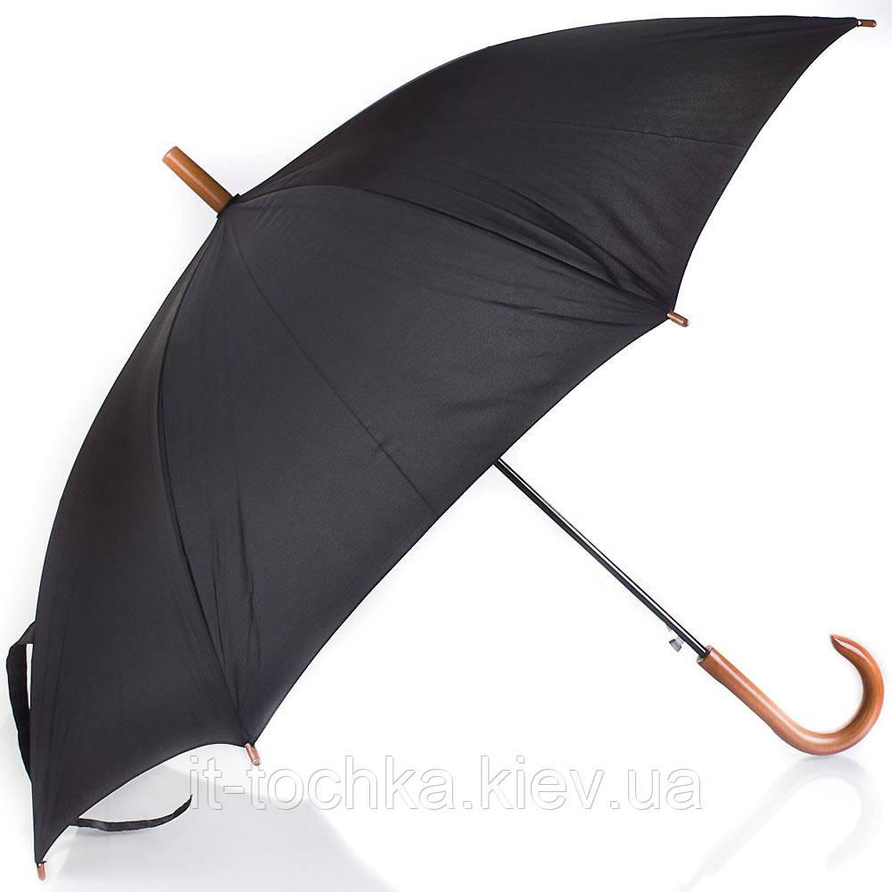 Мужской зонт трость полуавтомат fare 1132-black черный с антивеером