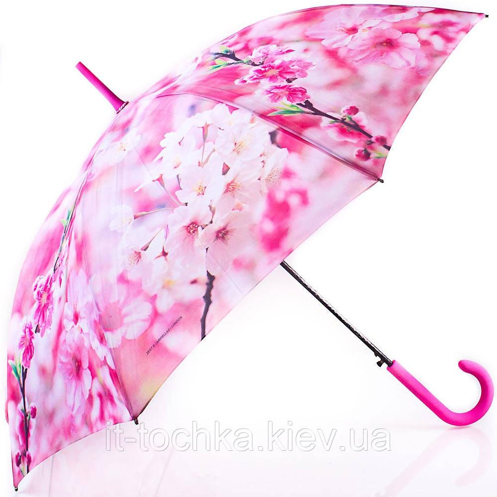 Женский зонт трость полуавтомат zest z21625-17 с антивеером