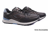 Кроссовки мужские Gri Sport натуральная кожа черные (мокасины мужские, комфорт, платформа, Италия)