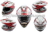 """Шлем кроссовый   """"GSB""""   (mod:GS-14) (с визором, size:XL, бело-красный)"""