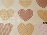 "Лоскут ткани №398а  ""Сердечки с узорами"", цвет кофейный с розовым , фото 2"