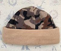 Шапка флисовая комбинированная теплая беж камуфляж