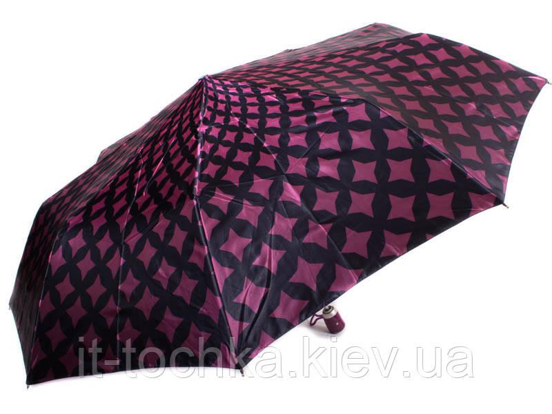 Женский автоматический зонт airton z3944-1 розово-черный на три сложения