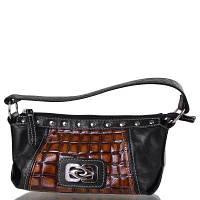 Женская кожаная мини-сумка pekotof pek09-11-07 коричнево-черная
