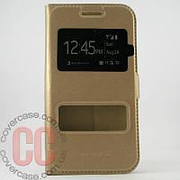 Чехол-книжка с окошками для Samsung Galaxy A500-A5 (золотой)