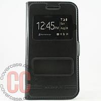 Чехол-книжка с окошками для Samsung Galaxy A500-А5 (черный)