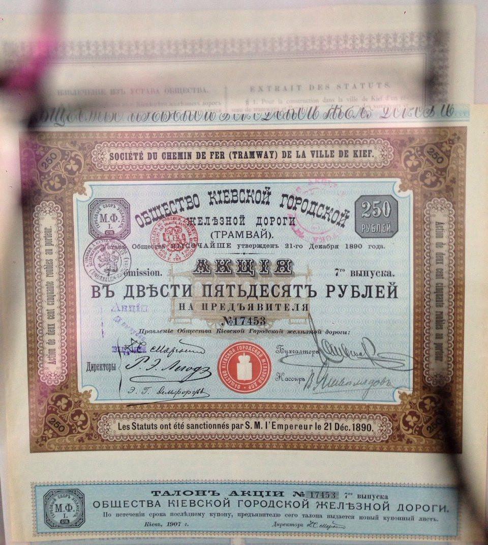 Акция Киевского городского трамвая  1890 год, 250 руб