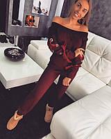 Женский спортивный костюм с атласной лентой  к-t1805361