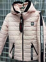 Стильная женская курточка-демисезонка спортивного стиля, цвета пудры