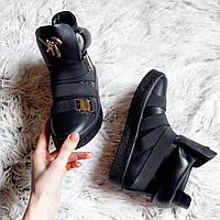 """Черные демисезонные ботиночки """"Занотти"""" с пряжками"""