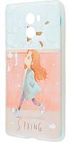 """Чехол для Xiaomi Redmi 4 силиконовый с рисунком """"девочка и кот"""""""