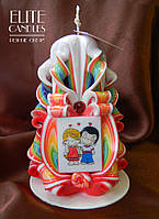 Радужная свеча с табличкой для подарка любимым