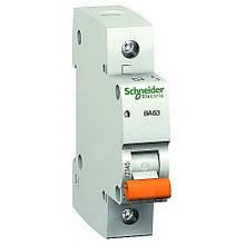 Автоматичні вимикачі Schneider Electric серії «Домовик» ВА63 1 Полюс
