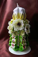 Резная свеча ручной работы на 8 марта, день Святого Валентина, 14 февраля с декором из цветов