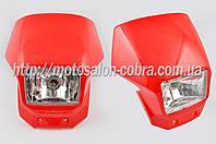 Обтекатель универсальный (красный, +фара) пластиковая деталь стайлинга мотоцикла (mod:KG-01) О6