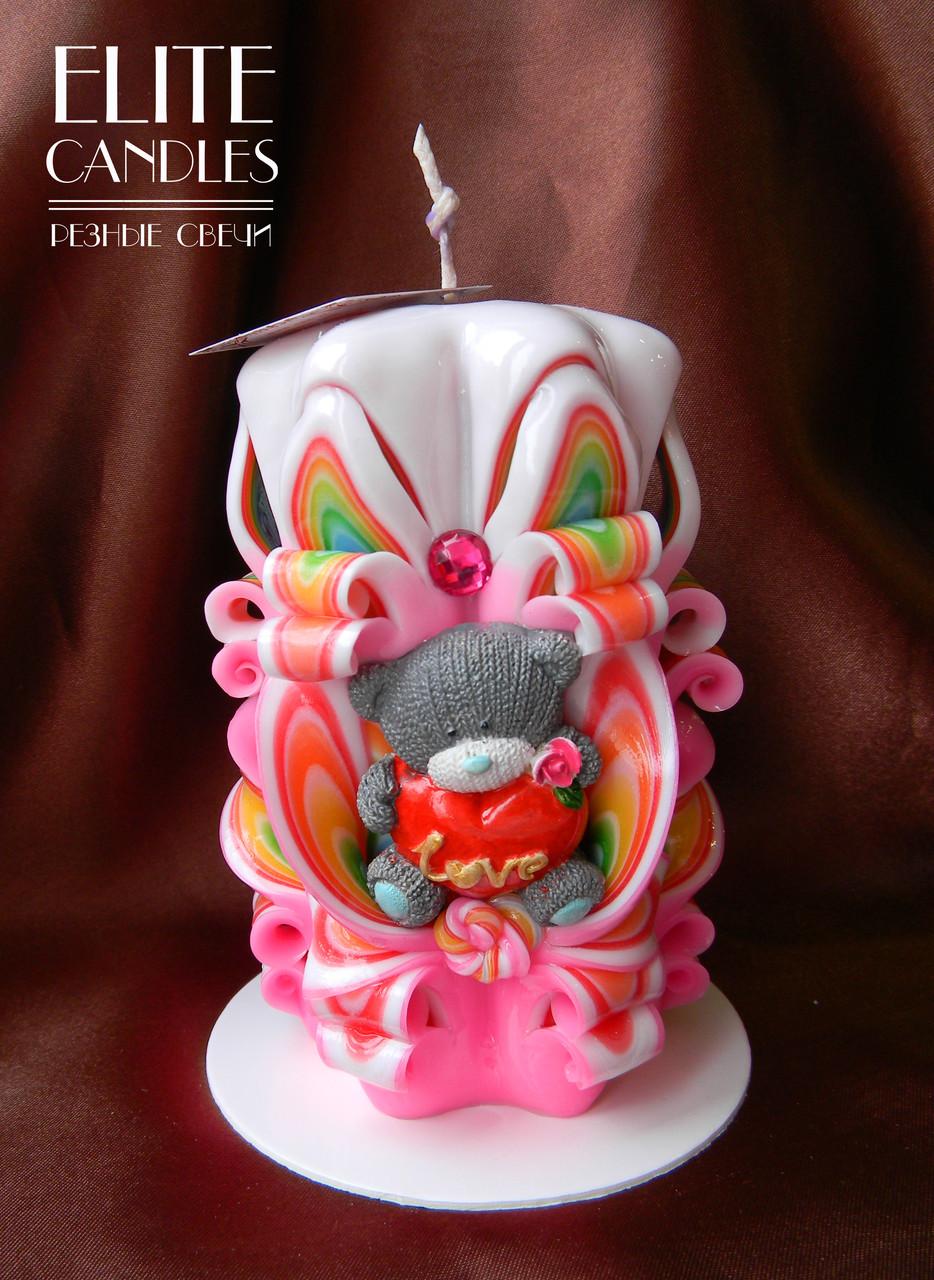 Свеча с мишкой ручной работы для подарка любимым
