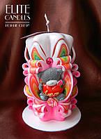 Резная свеча ручной работы на 8 марта, день Святого Валентина, 14 февраля с мишкой
