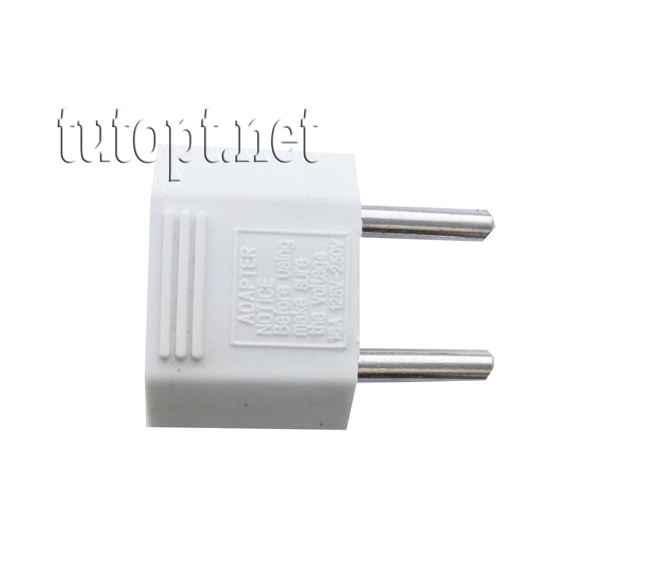 Переходник с плоской и евро вилки на простую розетку, 10А - 220V, упаковка 50 шт.